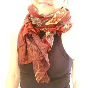 Multicolor Abstract Lightweight Painted Scarf